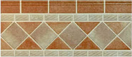 "2""x4"" flush cantilever tile above mosaic waterline tile"