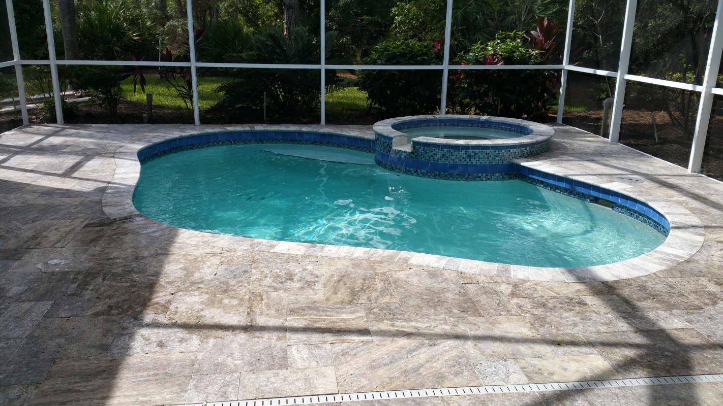 Pavers and travertine mr marcite pool resurfacing for Pool designs venice