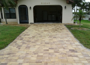 Driveway - After Brick Pavers Installed (Shape: Traverstone / Color: Sand/Tan)