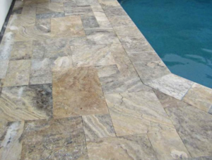 Silver Travertine Pool Deck Detail