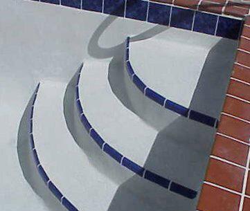Installed Bullnose Tile on Pool Steps